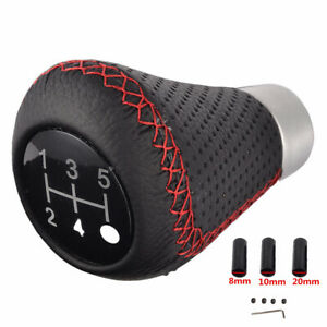 Black Leather Shift Knob 5-Speed for Car Manual Round Gear Stick Shifter Lever
