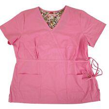 Koi Scrub Top Mock Wrap 3XL Pink Nurse Uniform Style 137-016