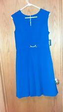 ba4bb1c77de ELLEN TRACY WOMENS PEACOCK BLUE SHIFT DRESS GORGEOUS SIZE 8 NEW