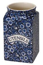 Burleigh Blue Calico UTENSILS square storage jar, new