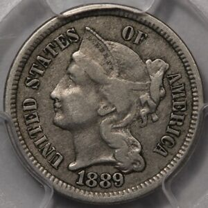 1889 Three Cent Nickel PCGS & CAC VF-35! Better Date and PQ!