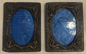 Lot Of2 1930s Japanese  High Relief Dragon Art Nouveau Picture Frame w Blue Silk