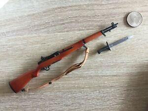 MINIATURE 1/6 SCALE METAL & WOOD US M-1 GARAND RIFLE GUN W BAYONET DML DID WWII