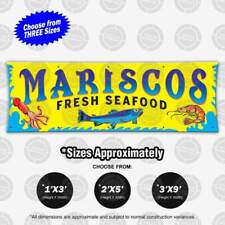 Mariscos Fresh Seafood Banner Restaurant Open Sign Shrimp Camarones Cuisine Fish