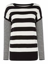 NEW-BARBOUR BLACK / CREAM STRIPE KNITTED RIVCO JUMPER - SIZE 8 - RRP £79.95