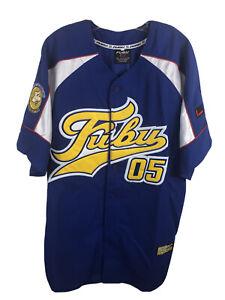 FUBU Sport 05 Vintage 90s Blue Baseball Jersey Stitched NWT Daymond John - Large