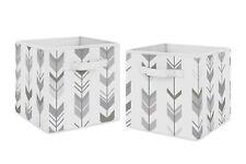 Grey White Woodland Mod Arrow Foldable Fabric Storage Cube Bins Boxes - 2pc Set