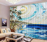 The Fantasy Sky Sea 3D Curtain Blockout Photo Printing Curtains Drape Fabric
