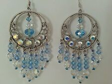 Blue Swarovski Crystal Drop Circle Pendant Earrings- Social, Gala, Bridal