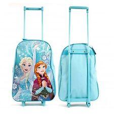 Disney Frozen Trolley Bag Blue Pull Along Travel Case Luggage Elsa Anna 43cm