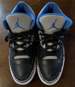 2014 Nike Air Jordan Retro III 3 Cement Gray Black Sport Blue Men's US Size 10.5