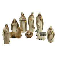 Resin Nativity Figurine Set, Set of 10 Christmas Nativity Set Scene Statues