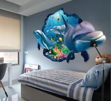 XXL 3D Wandtattoo Wandaufkleber Delphin Wandsticker Delfine Meer Unterwasser