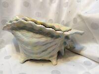 "Vintage 2-piece Atlantic Mold Conch Shell Bowl Planter Luster Glaze 12""X6'"