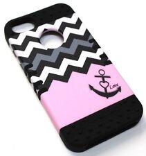 for iPhone 5 5s SE Chevron Love Pink Hard Soft Hybrid Rubber Koolkase Skin Case