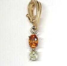 0.36 ct Fancy Yellow Diamond & 0.7 ct Natural Orange Garnet Pendant in 14K Gold