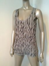 Burberry 100% Silk Gray Ruched Sleevelwss Blouse Tank Top Size 10