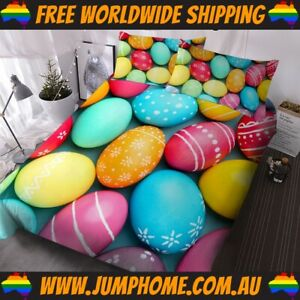Rainbow Easter Eggs Bedspread Set - Duvet Cover, Quilt *FREE WORLDWIDE SHIPPING*