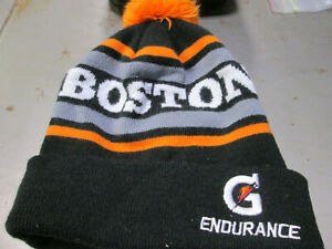 BOSTON Knit Cap - Gatorade logo - black white grey w/ orange pom