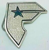 Famous Stars & Straps Logo Belt Buckle - Blingy Rhinestone Silver Tone & Enamel