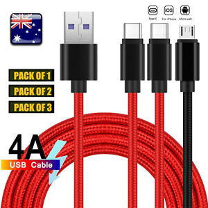 1/2/3 Pack 4A Fast Charger Sync Cable For iPhone Micro USB Type C QC3.0 1.5M