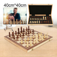Large Chess Wooden Set Folding Chessboard Magnetic Pieces Wood Board 40X40cm