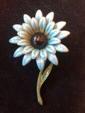 Vintage Light Blue Dark Blue Center Enamel Flower Pin Dahlia