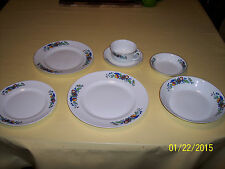 """* Vintage Cleveland China PATTERN 847 """"7 PIECE PLACE SETTING"""" BLUE RED YELLOW"""
