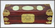 """Hand Made Chinese Jewelry Chest with Three Jade Medallions  (3"""" H x10"""" W)"""