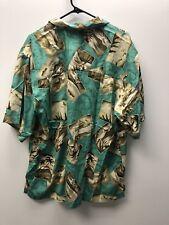 2 Bermuda Bay Mens LG Hawaiian Button Up Shirt 100% Silk Green Blue Camp Bahama