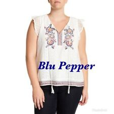 Blu Pepper Womens Lace Ruffle Tank Top Plus Sz 3X White Embroidered Details NWT
