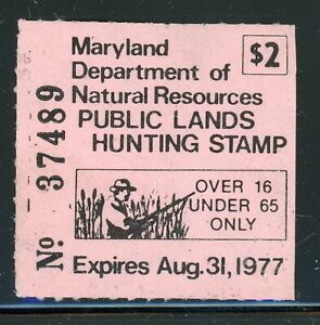 US State Hunting Permit Stamp Selections: MARYLAND - 1977 RRR $$$$