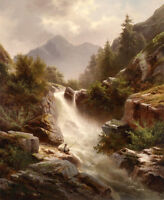 Huge Oil painting landscape - brook cross the mountains with fisher in sunset