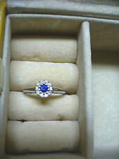 NEW $650 18KWG Blue Sapphire & Diamond Ring - Sz 7 (sizable)