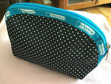 LeSportsac Black With White Polkadots Makeup Pouch