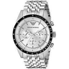 Reloj Cronógrafo ARMANI para Hombres TAZIO AR6073 Dial De Plata Correa Metálica, cert. de autenticidad, RRP £ 289