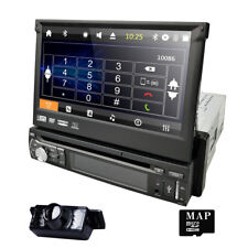 Single 1 Din Car Stereo Radio DVD Player BT SWC GPS Navigation with Map+Camera E