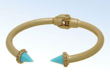 Matte Gold-Tone Turquoise Spike Hinged CUFF Bangle Bracelet