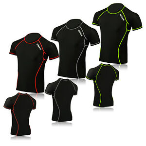 Mens T-Shirt Compression Base Under Layer shorts Sleeve Sport Fitness Tight Tops