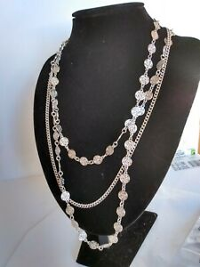 Vintage D'Orlan Silver Tone MULTI-STRAND Necklace  - 22""