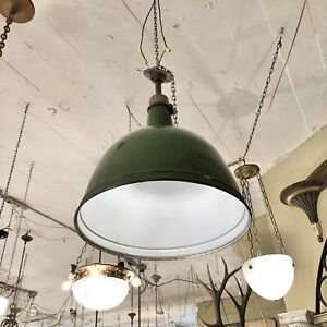 Large Vintage Green & White Enameled Metal Industrial Ceiling Dome Light Rewired