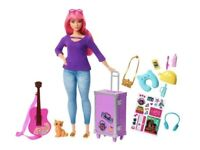 Barbie Daisy Travel Doll & Kitten Playset NEW Pink Hair and Accessories for Doll