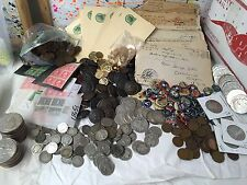 MEGA LOT(17 ITEMs)WWI WW1 COINS+MILITARIA+SILVER+PINS+BUTTONS+LETTERS+STAMPS