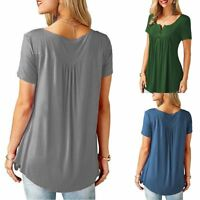 Fashion Womens V-Neck Tunic Short Sleeve Loose Top T-Shirt Plus Loose Blouse Top