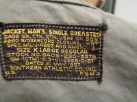 VIETNAM WAR US FIELD JACKET SOUTHERN ATHLETIC CO 1957  RARE X- LARGE