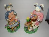 Fabric Mache Mr. & Mrs. Easter Bunny Couple Hand Painted Details Spring with Box