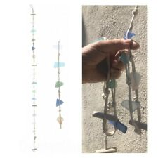 130cm Seaglass & Driftwood Hanging Decoration / Garland / Mobile Tracked Post!