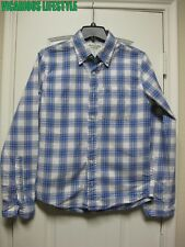 Abercrombie & Fitch Men's Plaid Twill Blue White Shirt Small (S)