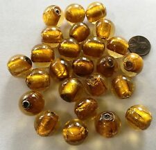 TWENTY-FIVE (25) SILVER FOIL LINED AMBER  Lampwork Glass Beads 23MM Big & Bold!