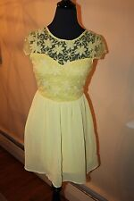 MOON DRESS YELLOW FLOWERS ROCKABILLY RETRO VINTAGE STYLE TEA DRESS 50'S PIN UP